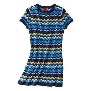 Missoni Blue Chevron Short Sleeve Sweater Dress